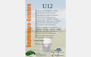 U12 : Planning Septembre-Octobre